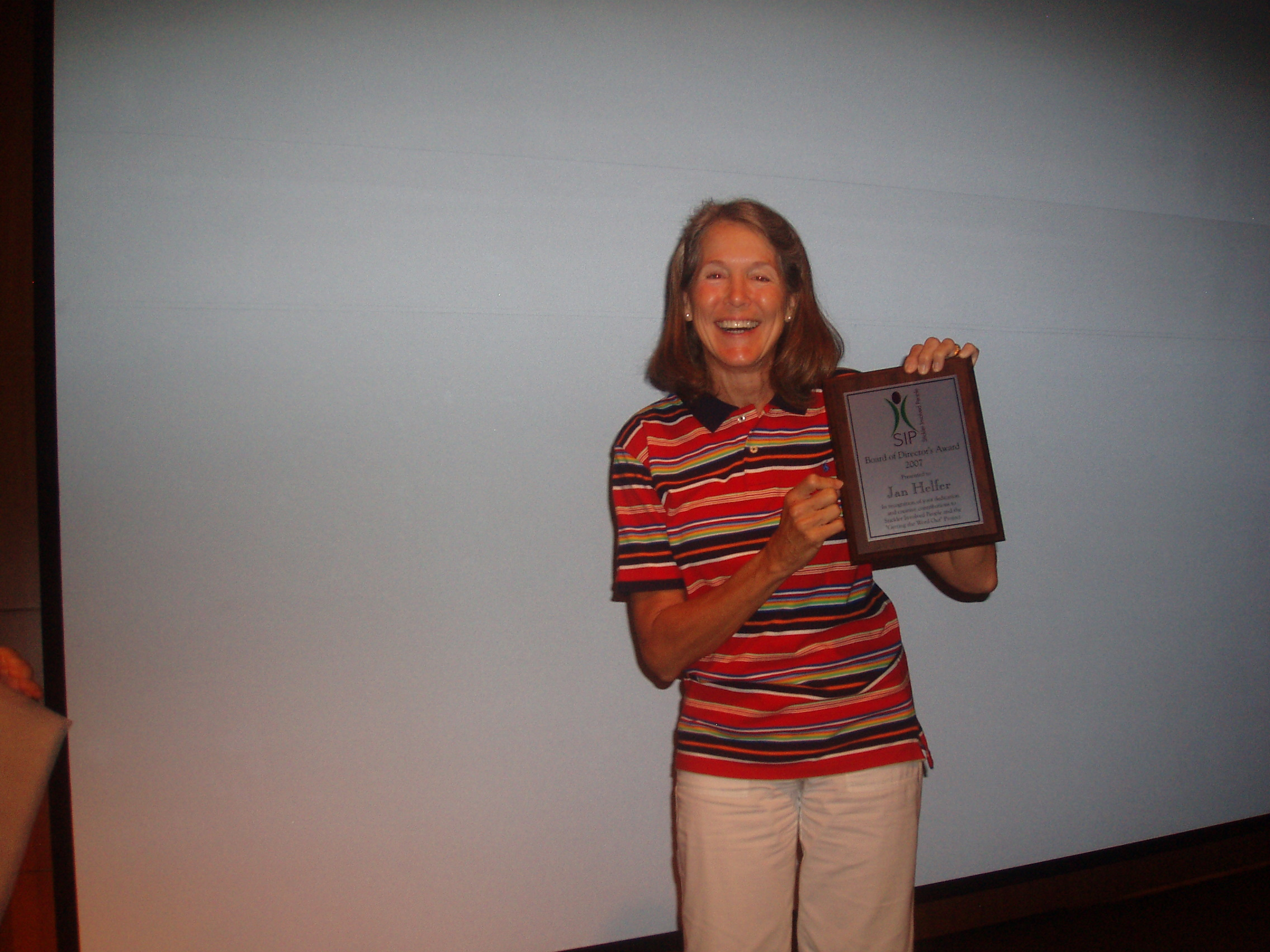 Jan Helfer with her Award