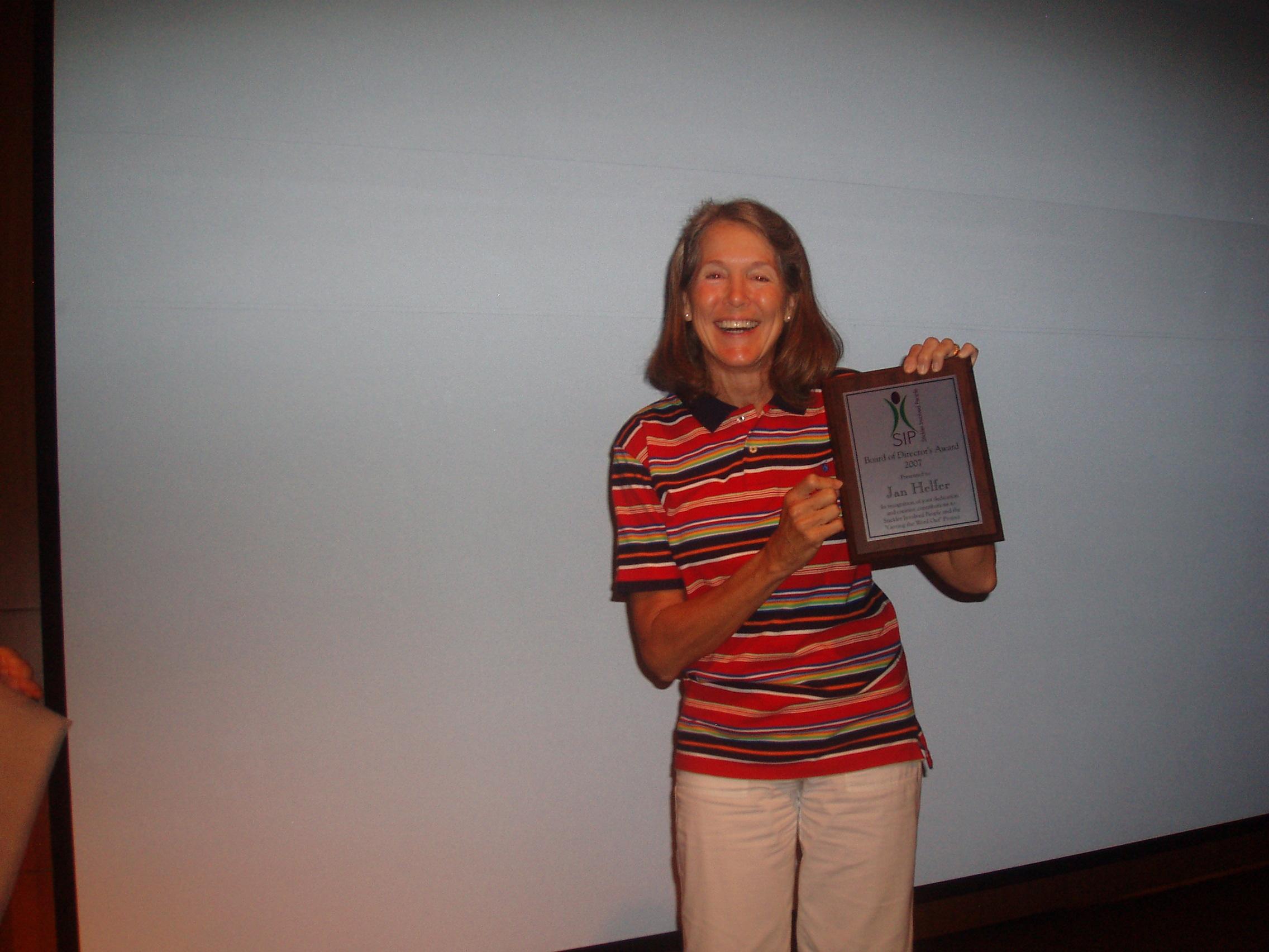 Jan Helfer with her Award